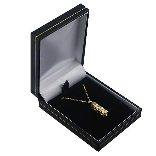 9ct Gold 6x19mm hollow Buckingham Palace Pendant with a Cable link Chain 16 inches Only Suitable for Children