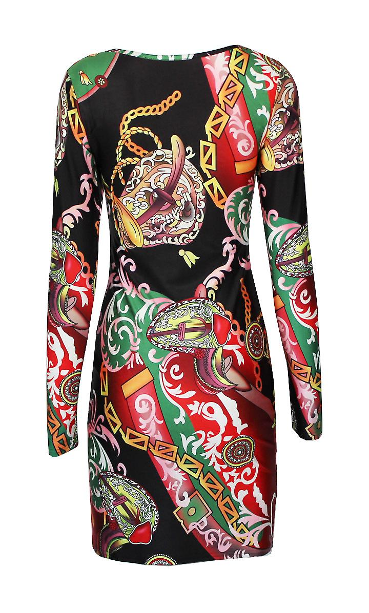 Tight dress long sleeve printed pattern Serena