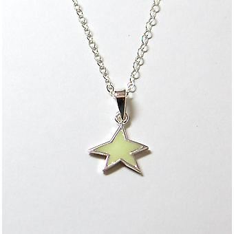 Jo For Girls Sterling Silver Glow In The Dark Star Pendant Necklace 14