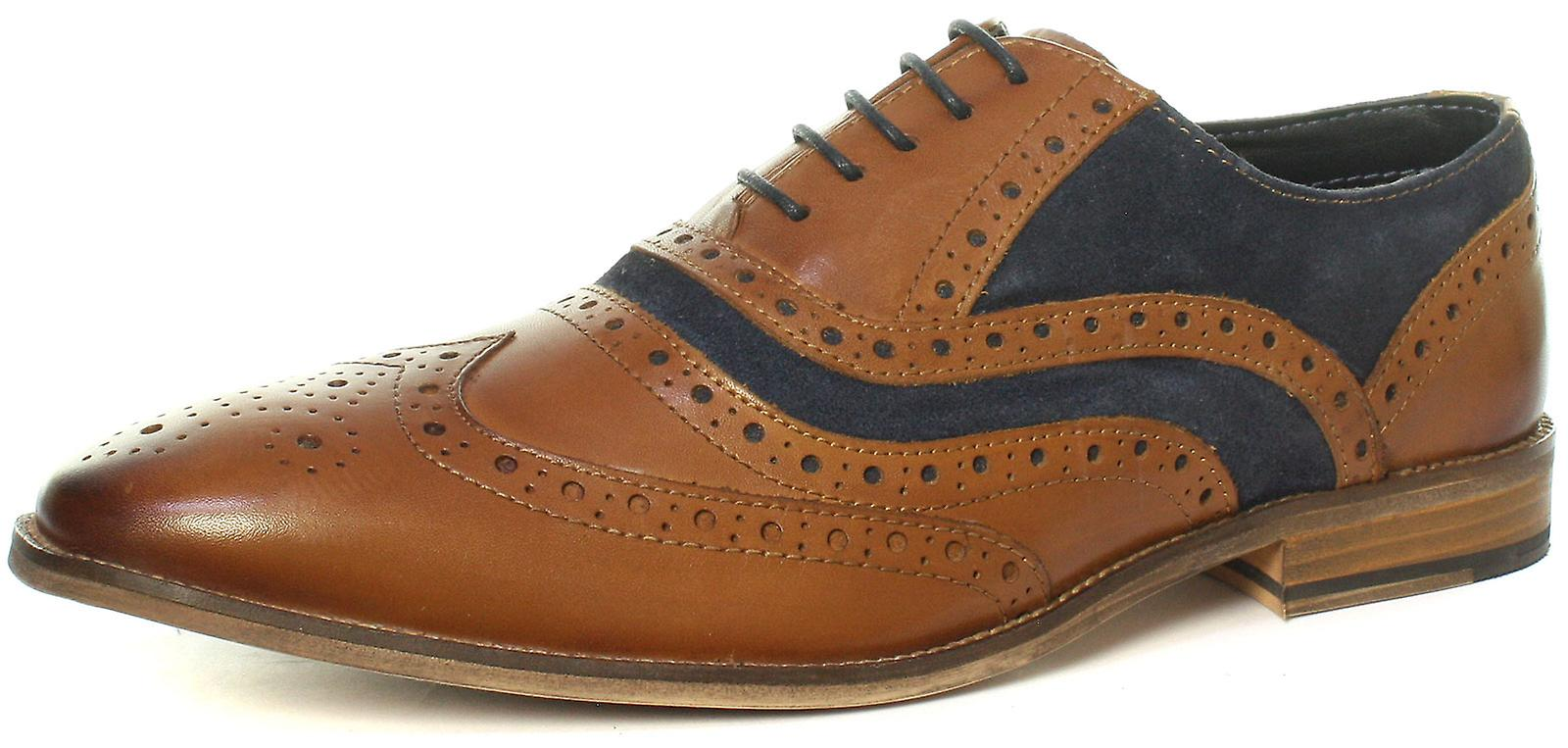 Roamers M001BT 5 Eyelet Brogue Oxford Tan Navy Mens chaussures