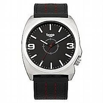 Base London Gents Analogue Black Dial Black Leather Strap Watch Casual DQ93.03BL