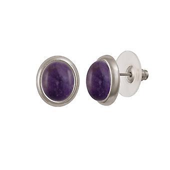 Eternal Collection Minuet Amethyst Silver Tone Stud Pierced Earrings