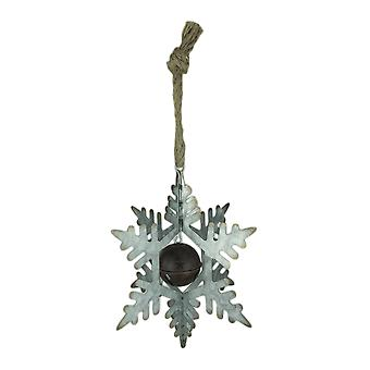 Rustic Metal 3D Hanging Snowflake and Bell Ornament Decoration - Small