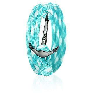 Bracelet bracelet ancre en nylon blanc et turquoise avec ancre noire le capitaine 6662