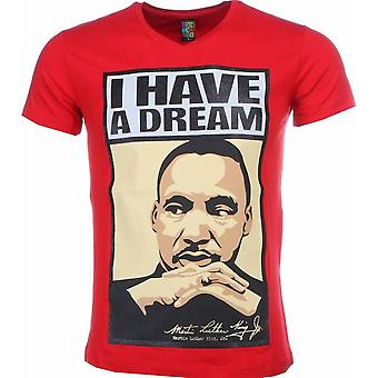 T-shirt-Martin Luther King I Have A Dream Print-Red