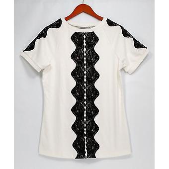 George Simonton Top Short Sleeve Ponte Knit Tunic White A229334