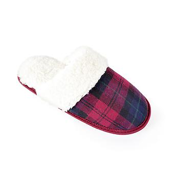 Women's/Ladies Footwear Tartan Open Back Mule Slippers With TPR Sole, Plum Check, Various Sizes