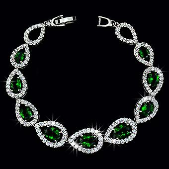 18K Gold Plated Emerald Green Cubic Zirconia Bracelet, 18 cm Length