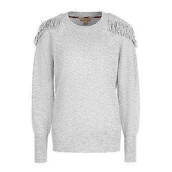 Fringed Shoulder Blend Sweater