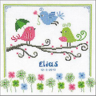 Colourful Birds Birth Record On Aida Counted Cross Stitch Ki-8.75