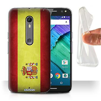STUFF4 Gel/TPU Case/Cover for Motorola Moto X Style/Spain/Spanish/Flags