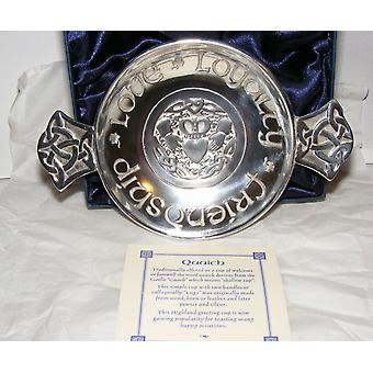 Luckenbooth of Eartly Joys Pewter Quaich - 130mm
