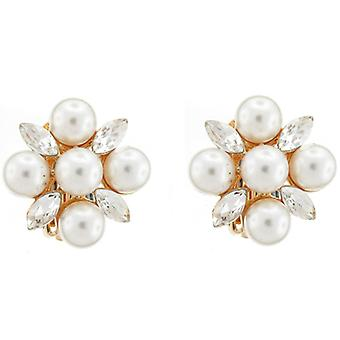 Clip On Earrings Store Ivory Pearl and Clear Diamante Charm Clip on Earrings