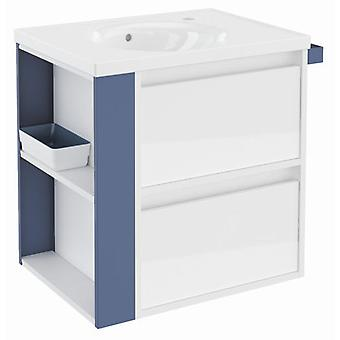 Bath+ Cabinet 2 Drawers With White Porcelain Sink Gloss Blue 60CM