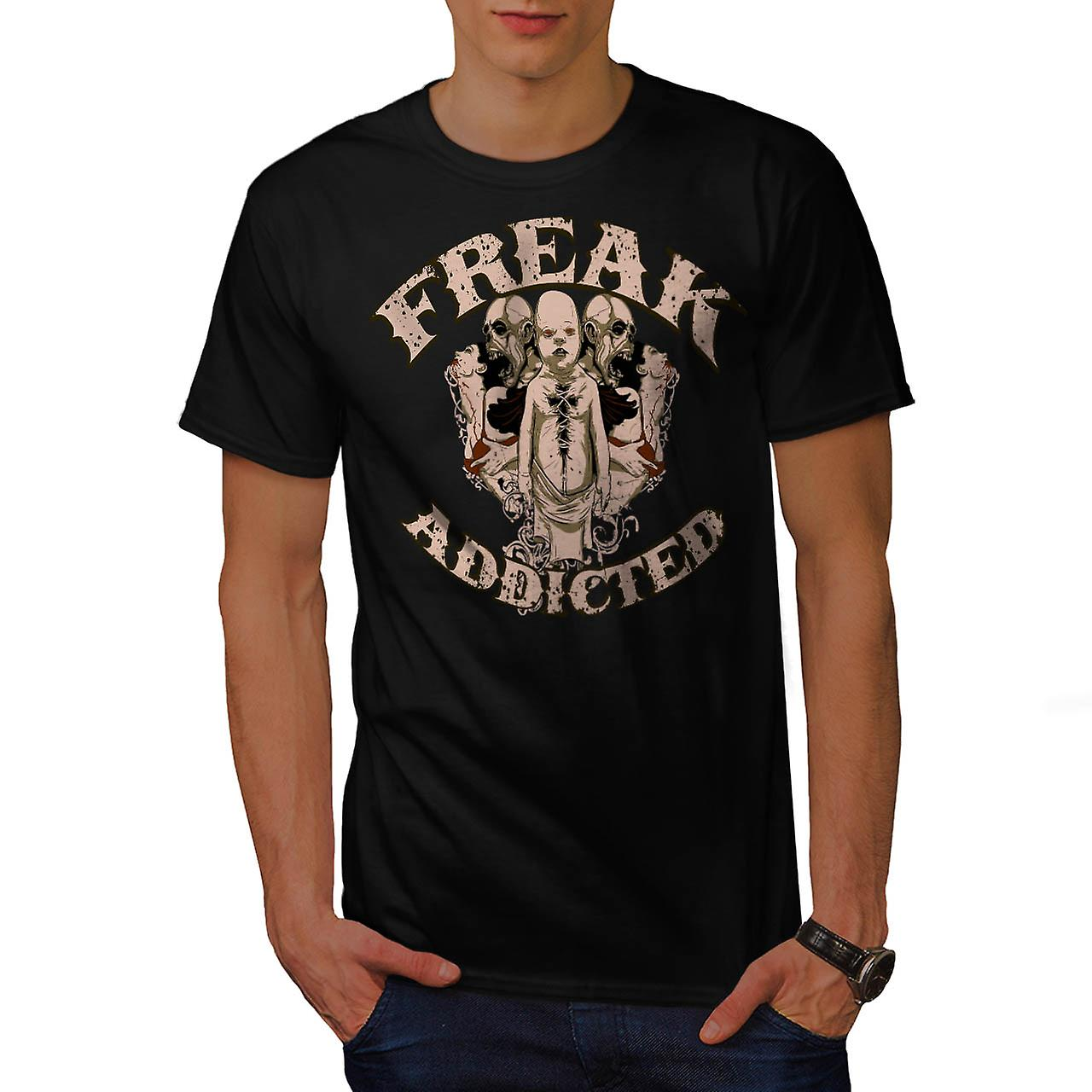 Freak Addicted Zombie Men Black T-shirt | Wellcoda