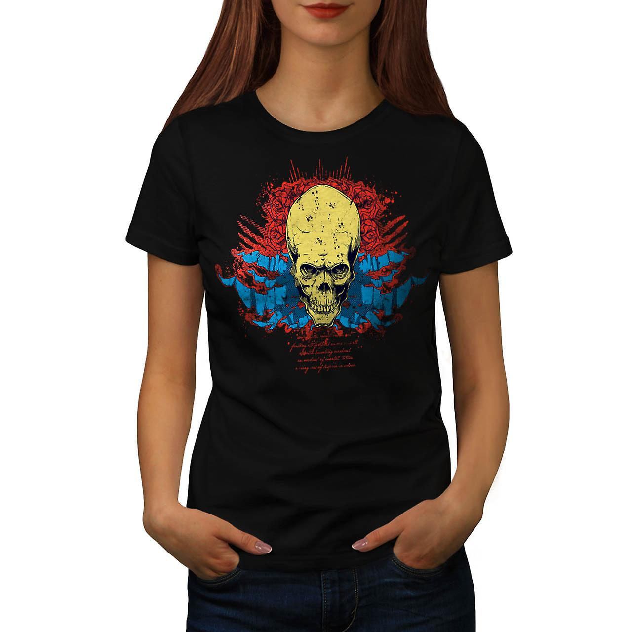 Creepy Death Rose Skull Devil Zone Women Black T-shirt | Wellcoda