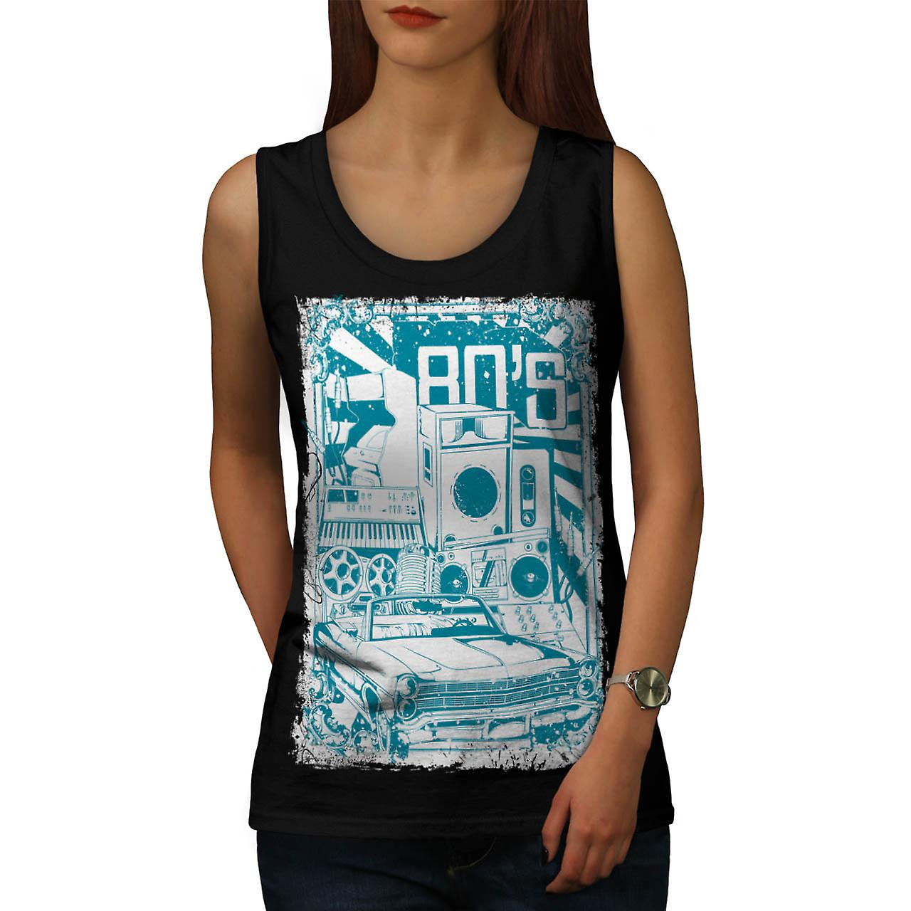 DJ 80's Theme Night Music Car Women Black Tank Top | Wellcoda