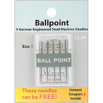 Klasse Ball Point Machine Needles-Size 10/70 5/Pkg A5101-7010