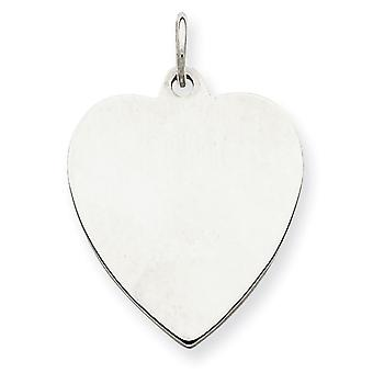 Sterling Silver Polished Engravable Engraveable Heart Disc Charm - 1.9 Grams