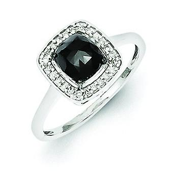 Sterling Silver Black and White Diamond Square Ring - Ring Size: 6 to 8