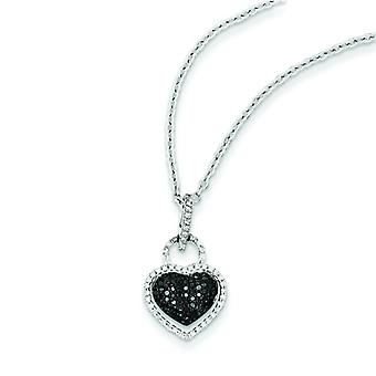 Sterling Silver Black and White Diamond Heart Pendant - .24 dwt