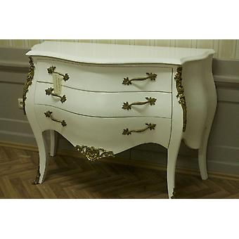 chest of drawers vintage   creme colored laquere   brass