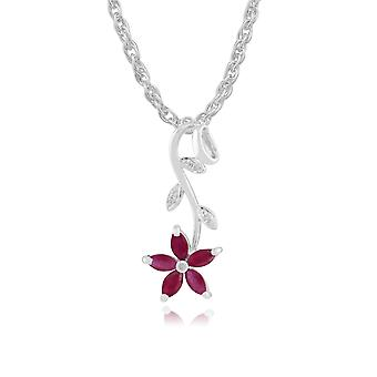 9ct White Gold 0.69ct Natural Ruby & Diamond Flower Pendant on Chain