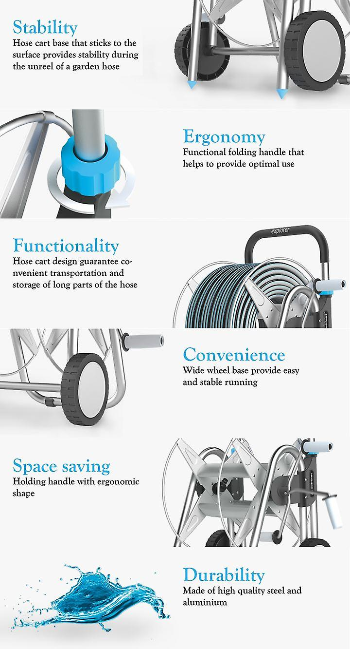 High Quality Wheeled Outdoor Garden Trolley Reel Watering Cart + 25m Hose
