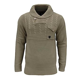 Soul Star Men's Chatsworth Shawl Neck Cable Knit Knitted Jumper