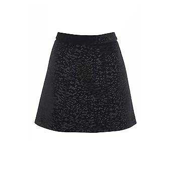 Topshop Black Animal Velvet A-line Mini Skirt SK165-4