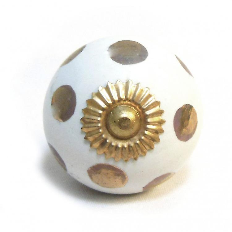 White / Gold Spots Ceramic Cupboard Knob