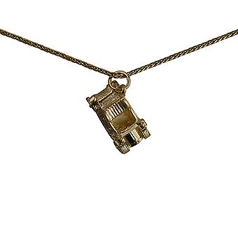 9ct Gold 10x20mm Vintage Car Pendant with a spiga Chain 16 inches Only Suitable for Children