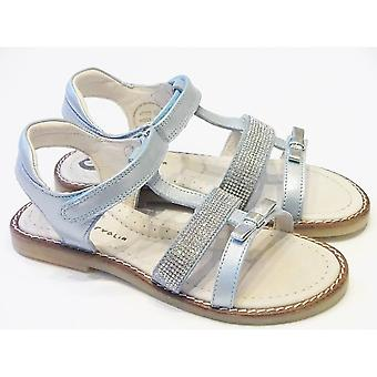 Garvalin Girls Light Blue Leather Sandals