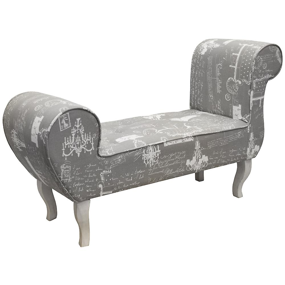 Parisian - Lounger Bench / Padded Chaise Chair - Grey / Cream