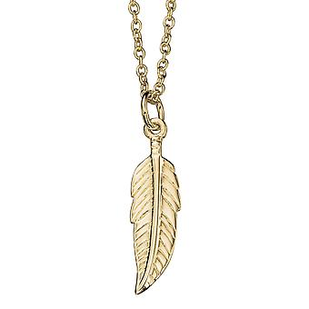 925 Silver Gold Plated Feather Fashionable Necklace