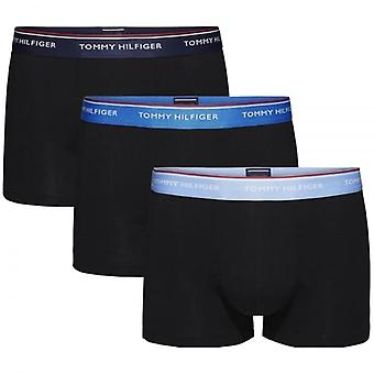 Tommy Hilfiger Premium Essential Stretch Cotton 3-Pack Trunk, Black With Vista Blue/Daphne/Peacoat, X-Large