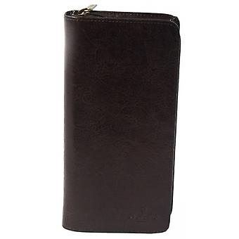San Babila Italian Grain Leather Travel Wallet - Brown