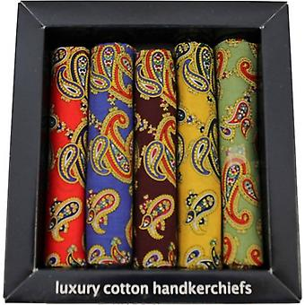 David Van Hagen Paisley Cotton 5 Pack Handkerchiefs - Multi-colour