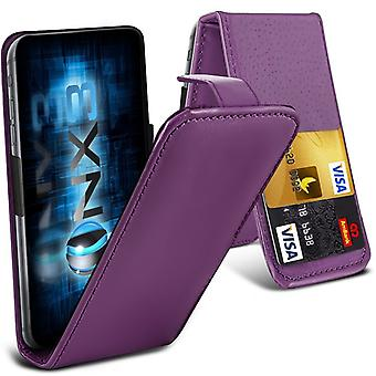 ONX3 (Dark Purple) Microsoft Lumia 532 / 532 Dual SIM Premium PU Leather Universal Spring Clamp Flip Case with Camera Slide and Card Slot Holder