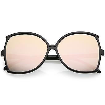 Oversize Butterfly Sonnenbrille Frauen schlanke Arme farbige Spiegel-Objektiv 61mm