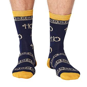 HO HO! Men's soft Christmas bamboo crew socks in navy | By Thought