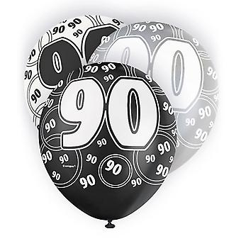 Unique Party 12 Inch 90th Birthday Black Balloons (Pack Of 5)