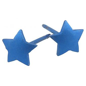 Ti2 Titanium Geometric Star Stud Earrings - Navy Blue