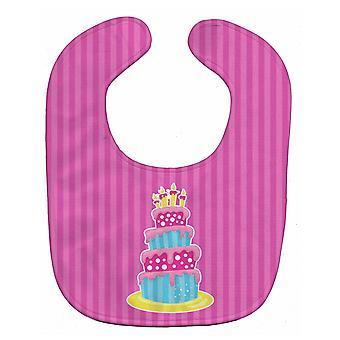 Carolines Treasures  BB8922BIB Dinosaur Pink Birthday Cake Baby Bib