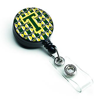 Letter T Football Green and Yellow Retractable Badge Reel