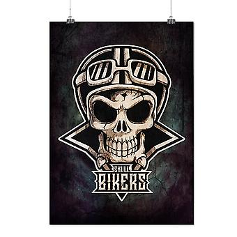 Matte or Glossy Poster with Biker Goth Rider Skull | Wellcoda | *d2790
