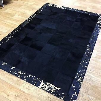 Rugs -Patchwork Leather Cubed Cowhide - Black with Gold Acid Border