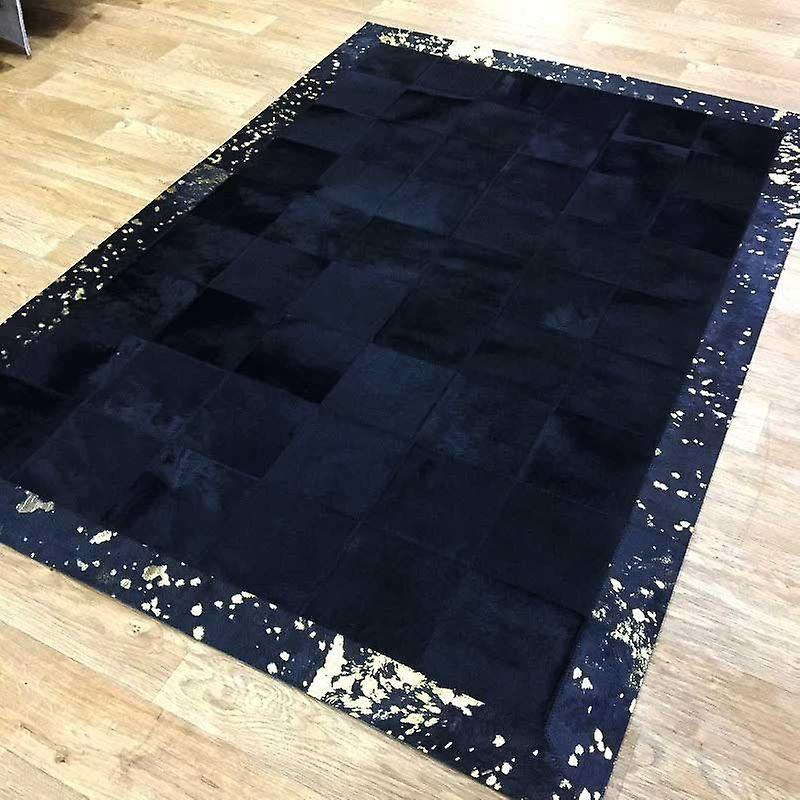 Rugs - Patchwork Leather Cubed Cowhide - Black with Gold Acid Border