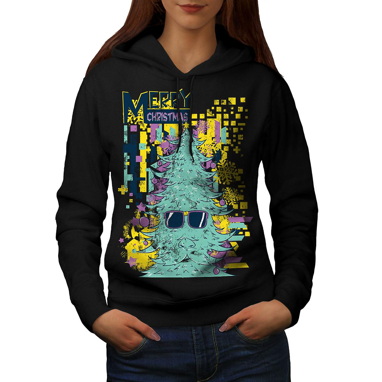 Merry Hipster Christmas Women Black Hoodie | Wellcoda