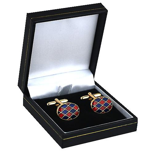Hard Gold plated 13x19mm oval Harlequin enamel swivel Cufflinks
